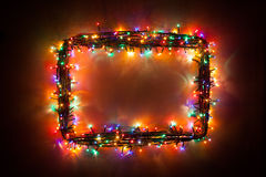 Christmas lights frame Royalty Free Stock Image