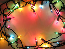 Christmas lights frame. Colorful background with Christmas lights Royalty Free Stock Photo
