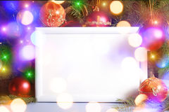 Christmas lights frame royalty free stock photography