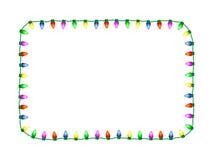 Christmas Lights Frame. Decorative seasonal christmas lights vector rectangular frame Royalty Free Stock Photo