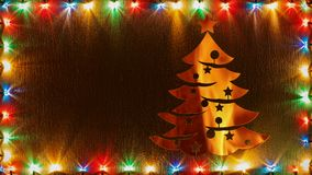 Christmas lights frame with glowing xmas tree stock video footage