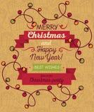 Christmas lights frame. Christmas greeting card in retro style, Christmas lights frame, vector illustration Royalty Free Stock Image