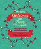 Christmas lights frame. Christmas greeting card in retro style, Christmas lights frame, vector illustration Stock Photo
