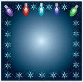 Christmas Lights Frame With Snowflakes. On Blue Background Royalty Free Stock Photography