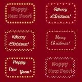 Christmas Lights Frames for Celebratory Design Royalty Free Stock Photography