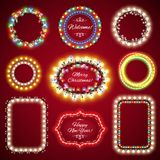 Christmas Lights Frames with a Copy Space Set1. For Celebratory Design. Used pattern brushes included Royalty Free Stock Images