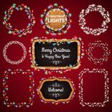 Christmas Lights Frames with a Copy Space Set4. For Celebratory Design. Used pattern brushes included Stock Images