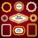 Christmas Lights Frames with a Copy Space Set3. For Celebratory Design. Used pattern brushes included stock illustration
