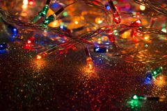 Christmas lights garland royalty free stock images