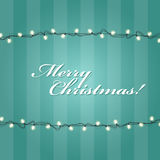 Christmas Lights garlands frame. Festive lights Stock Photography