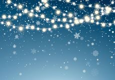 Christmas lights with glittering falling snowflakes on night sky background. Xmas glowing garland. Christmas snowfall. stock illustration