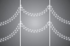 Christmas Lights Glowing Garland On Transparent Background Shiny Isolated