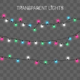 Christmas lights. Glowing garland on transparent background royalty free illustration