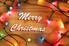 Merry Christmas lights. Christmas lights glowing. Merry Christmas royalty free stock images