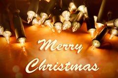 Merry Christmas lights. Christmas lights glowing. Merry Christmas royalty free stock photo