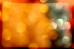 Christmas lights with golden bokeh and frame Royalty Free Stock Photography