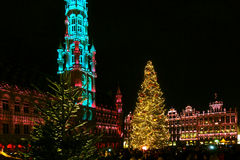 Christmas lights in Grand Place, Brussels, Belgium Royalty Free Stock Photography