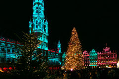 Christmas lights, Grand Place, Brussels, Belgium. Christmas lights illuminating Grand Place in Brussels, Belgium Royalty Free Stock Images