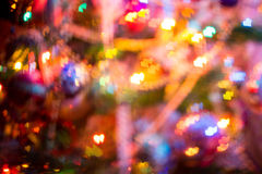 Christmas Lights Heart Bokeh. Festive background with heart shaped bokeh from Christmas tree lights glowing Stock Images