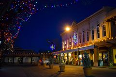 Christmas Lights in Historic Santa Fe Plaza, New Mexico stock photography