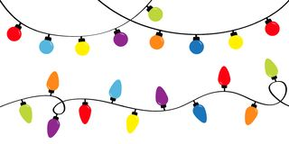 Free Christmas Lights. Holiday Festive Xmas Decoration. Colorful String Fairy Light Set. Lightbulb Glowing Garland. Rainbow Color. Flat Stock Images - 162274564