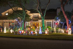 Christmas Lights. Home decorated with beautiful Christmas lights stock photography