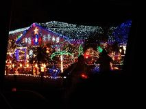 Christmas lights. Lights on a house at Christmas royalty free stock photography