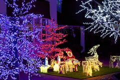 Christmas lights. House decorations, England stock image