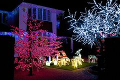 Christmas lights. House decorations, England royalty free stock photography