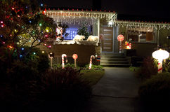 Christmas lights house home. Old house with simple Christmas lights royalty free stock images