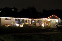 Christmas lights house home. Old house with simple Christmas lights royalty free stock photo
