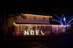 Christmas lights house Royalty Free Stock Images