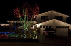 Christmas lights house Royalty Free Stock Photos