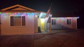 Christmas lights. House at night stock photos