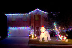 Christmas lights and house. At night background royalty free stock photo
