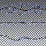 Christmas lights isolated design elements vector illustration