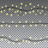 Christmas lights isolated design elements. Glowing Christmas lights isolated on transparent background design elements. Set garlands for greeting card design Royalty Free Stock Images