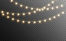 Free Christmas Lights Isolated. Glowing Garlands On Transparent Dark Background. Realistic Luminous Elements. Bright Light Stock Image - 161910021