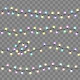 Christmas lights isolated. Glowing lights garlands decorations. Christmas lights isolated. Glowing lights for banners, web design, cards. Garlands decorations Royalty Free Stock Photography