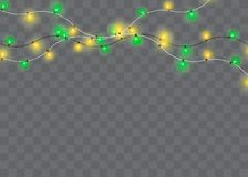 Christmas lights isolated realistic design elements. Glowing lights for Xmas Holiday cards, banners, posters, stock illustration