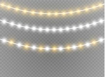 Christmas lights isolated realistic design elements. Glowing lights for Xmas Holiday cards, banners, posters, web design. Garlands decorations. Led neon lamp Royalty Free Stock Photography