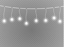 Christmas lights isolated realistic design elements. Glowing lights for Xmas Holiday cards, banners, posters, web design. Garlands decorations. Led neon lamp Royalty Free Stock Photos