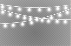 Christmas lights isolated realistic design elements. Glowing lights for Xmas Holiday cards, banners, posters, web design vector illustration