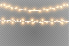 Christmas lights isolated realistic design elements. Glowing lights for Xmas Holiday cards, banners, posters, web design. Garlands decorations. Led neon lamp Royalty Free Stock Images