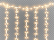 Christmas lights isolated realistic design elements. Glowing lights for Xmas Holiday cards, banners, posters, web design Royalty Free Stock Photos