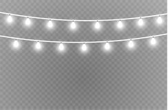 Christmas lights isolated realistic design elements. Glowing lights for Xmas Holiday cards, banners, posters, web design. Garlands decorations. Led neon lamp Royalty Free Stock Photo