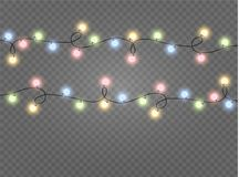 Christmas lights isolated realistic design elements. Glowing lights for Xmas Holiday cards, banners, posters, web design. Garlands decorations. Led neon lamp royalty free illustration