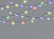 Christmas lights isolated on transparent background. Christmas lights isolated realistic design elements. Glowing lights for Xmas Holiday cards, banners