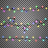 Christmas lights isolated realistic design elements. royalty free illustration