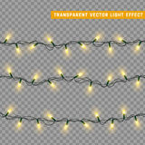 Christmas lights isolated realistic design elements. Stock Image